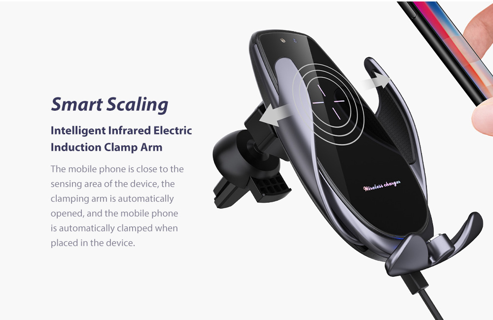 V3S Car Wireless Magnetic Charging Mobile Phone Bracket Universal Induction Opening and Closing - Black Intelligent Infrared Electric Induction Clamp Arm