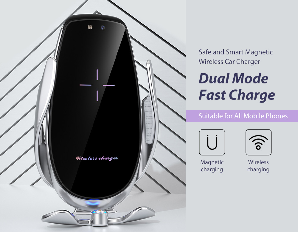 V3S Car Wireless Magnetic Charging Mobile Phone Bracket Universal Induction Opening and Closing - Black Safe and Smart Magnetic Wireless Car Charger