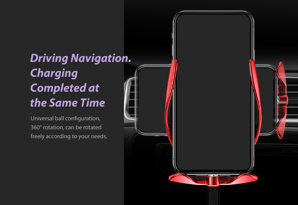 V3S Car Wireless Magnetic Charging Mobile Phone Bracket Universal Induction Opening and Closing - Black Driving Navigation. Charging Completed at the Same Time