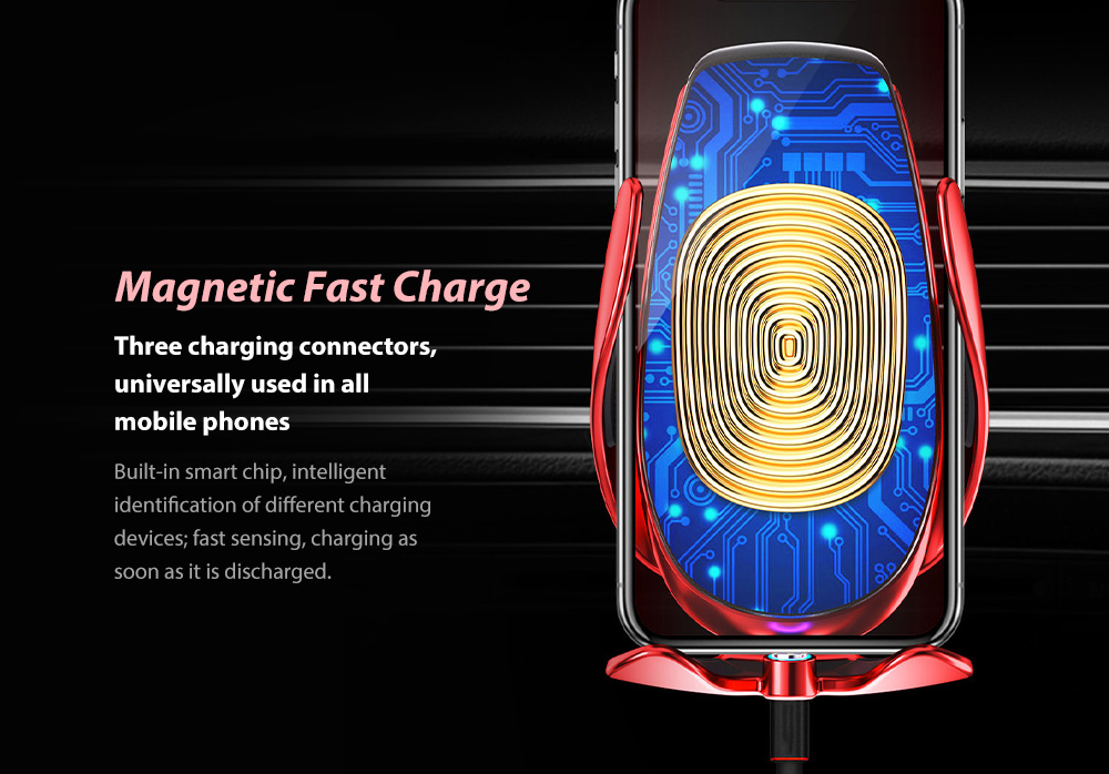 V3S Car Wireless Magnetic Charging Mobile Phone Bracket Universal Induction Opening and Closing - Black Magnetic Fast Charge