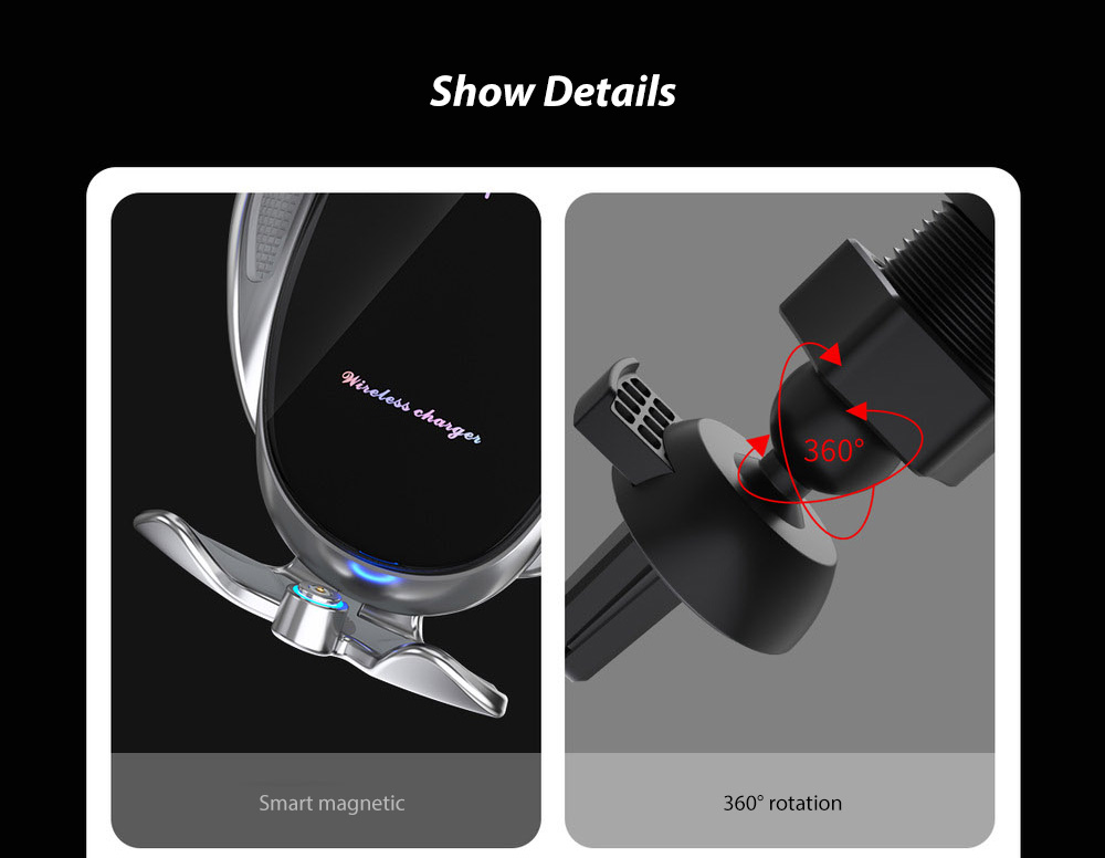 V3S Car Wireless Magnetic Charging Mobile Phone Bracket Universal Induction Opening and Closing - Black Show Details