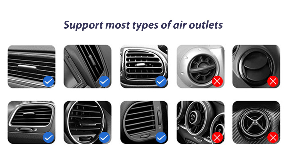 V3S Car Wireless Magnetic Charging Mobile Phone Bracket Universal Induction Opening and Closing - Black Support most types of air outlets