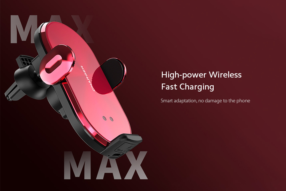 V30S Car Mobile Phone Holder Universal Wireless Charger Bracket - Red High-power Wireless Fast Charging