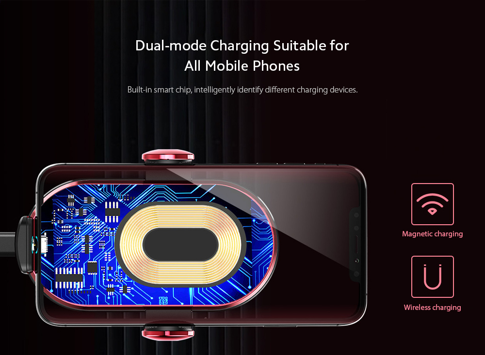 V30S Car Mobile Phone Holder Universal Wireless Charger Bracket - Red Dual-mode Charging Suitable for All Mobile Phones