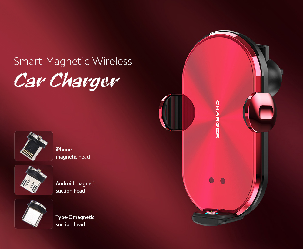 V30S Car Mobile Phone Holder Universal Wireless Charger Bracket - Red Smart Magnetic Wireless Car Charger