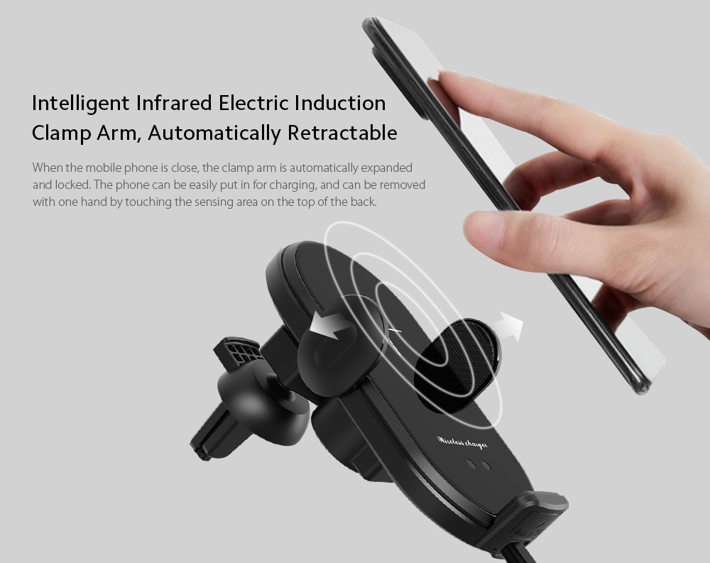 V30S Car Mobile Phone Holder Universal Wireless Charger Bracket - Red Intelligent Infrared Electric Induction Clamp Arm, Automatically Retractable