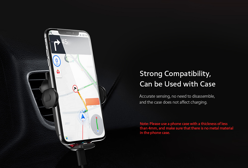 V30S Car Mobile Phone Holder Universal Wireless Charger Bracket - Red Strong Compatibility, Can be Used with Case