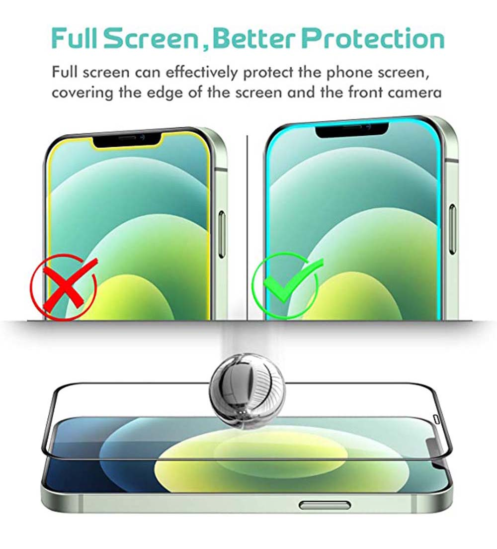 ASLING Screen Protector Tempered Film for iPhone 12 Mini / 12 / 12 Pro / 12 Pro Max - Black for IPhone 12 Mini 5.4 inch