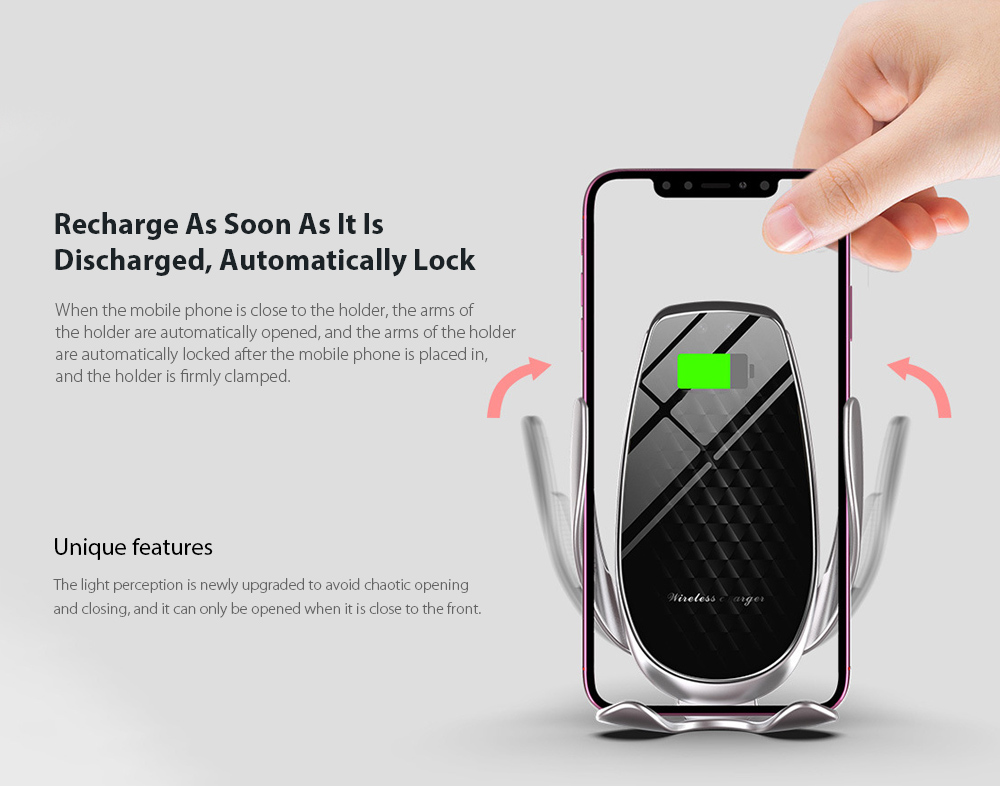 V3 Car Phone Holder Automatic Sensing 15W Fast Charge Wireless Charger - Silver Recharge As Soon As It Is Discharged, Automatically Lock