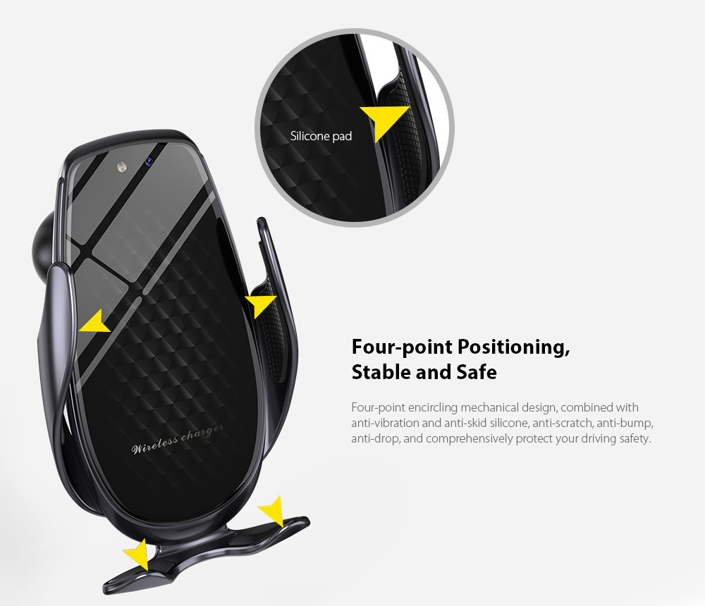 V3 Car Phone Holder Automatic Sensing 15W Fast Charge Wireless Charger - Silver Four-point Positioning, Stable and Safe