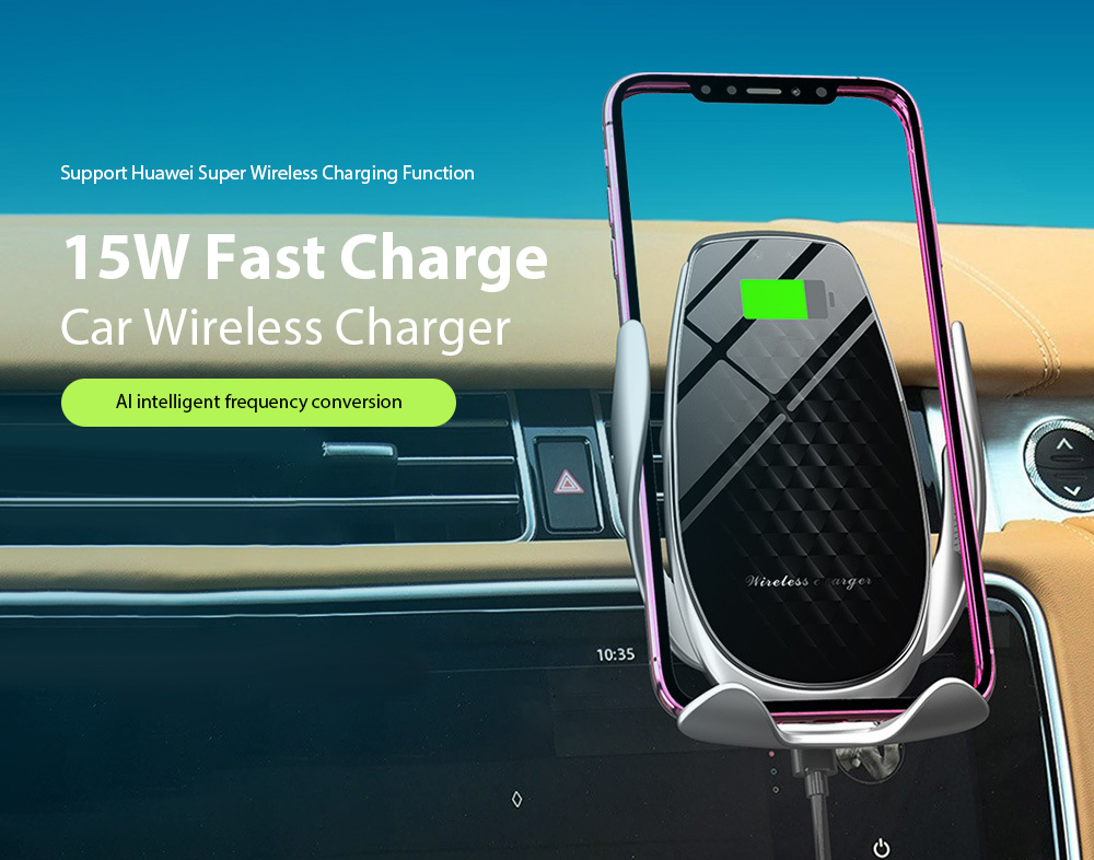 V3 Car Phone Holder Automatic Sensing 15W Fast Charge Wireless Charger - Silver 15W Fast Charge Car Wireless Charger