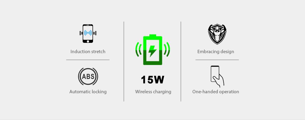 V3 Car Phone Holder Automatic Sensing 15W Fast Charge Wireless Charger - Silver Features