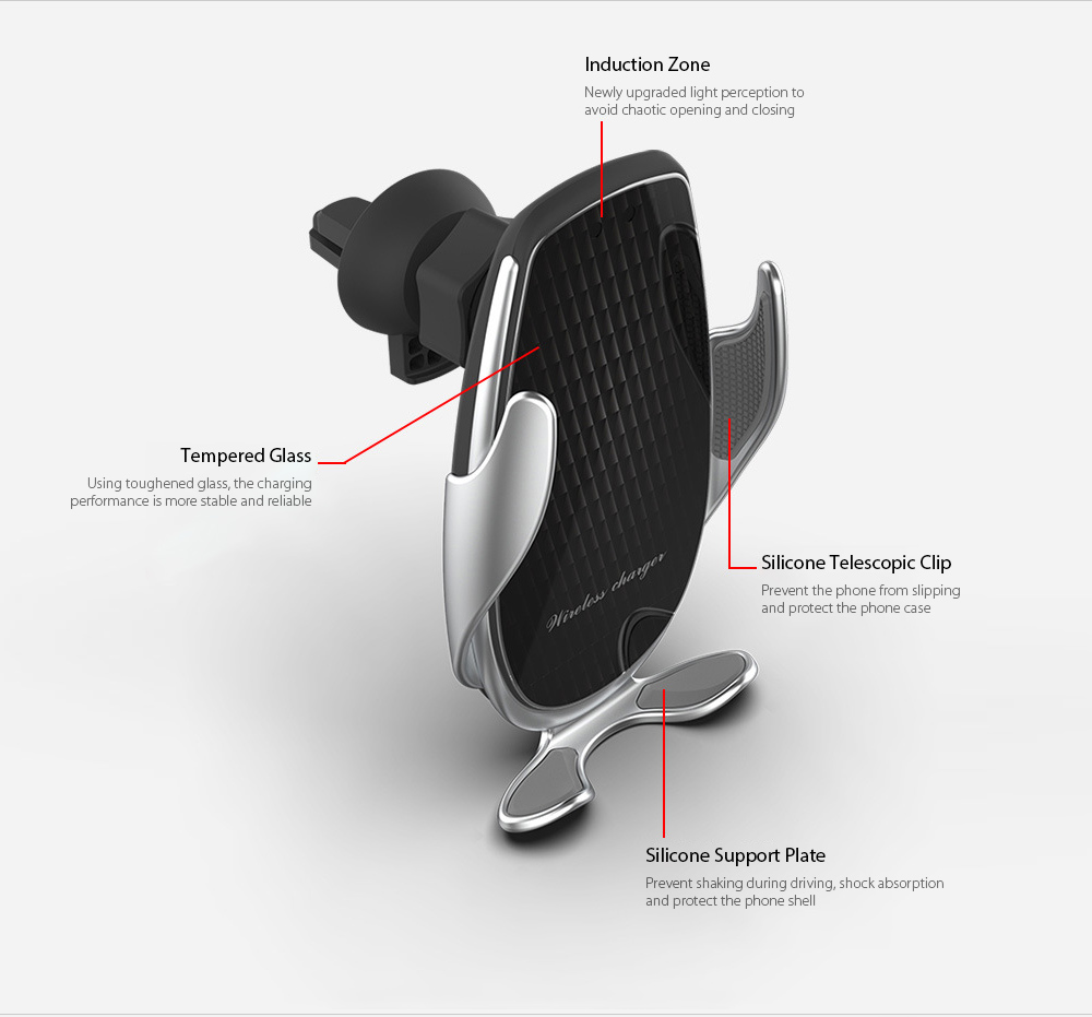 V3 Car Phone Holder Automatic Sensing 15W Fast Charge Wireless Charger - Silver Product Description
