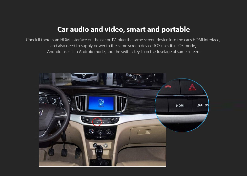 T8 RK3036 Wireless Same Screen Device Car audio and video, smart and portable