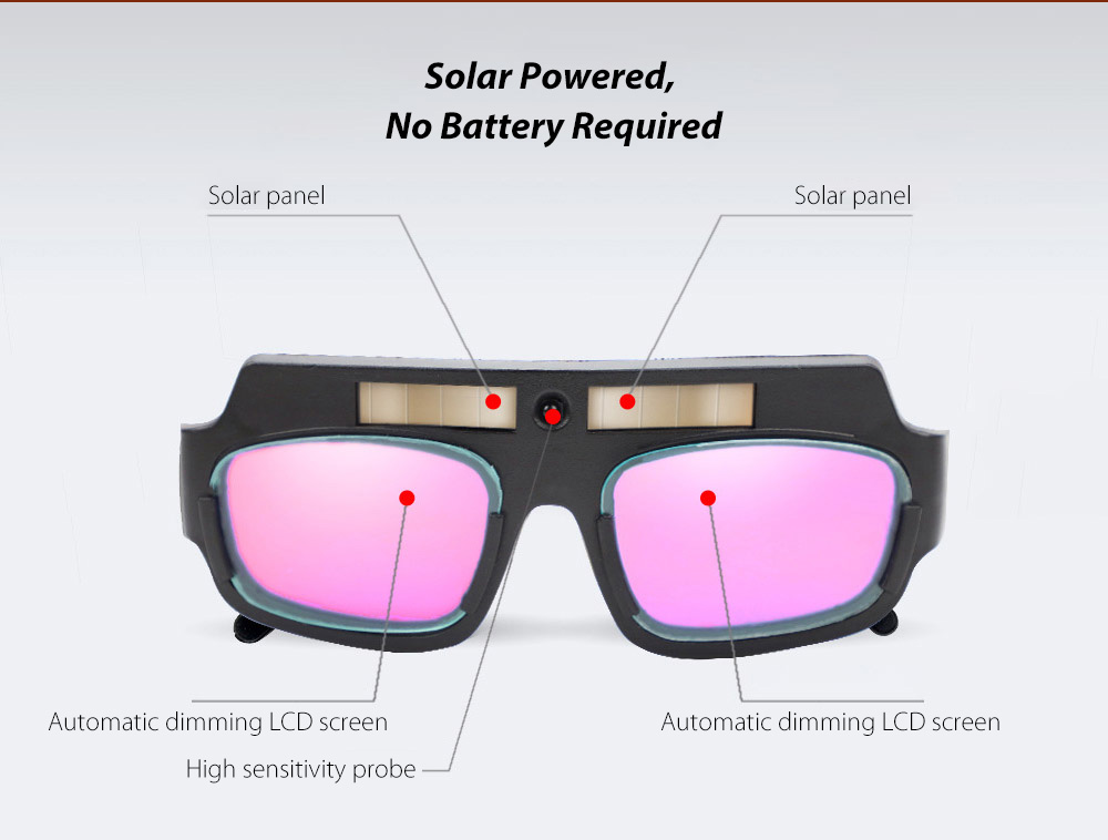 Anti-ultraviolet Light Automatic Dimming Solar Energy Anti-glare Argon Arc Electric Welding Glasses - Black Solar Powered, No Battery Required