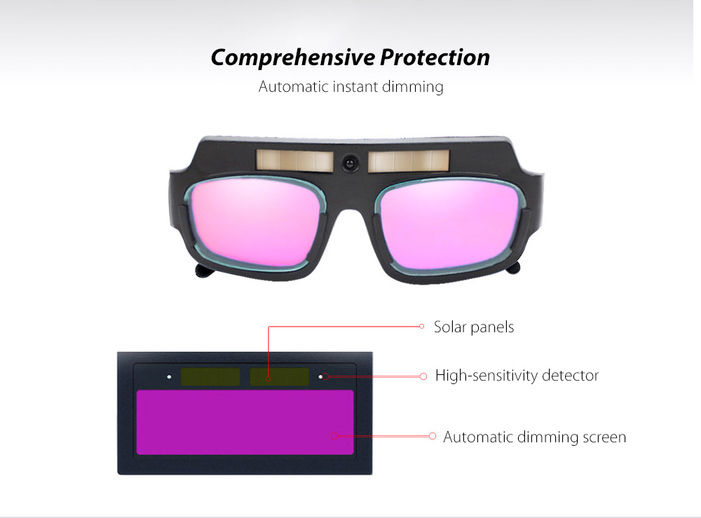 Anti-ultraviolet Light Automatic Dimming Solar Energy Anti-glare Argon Arc Electric Welding Glasses - Black Comprehensive Protection