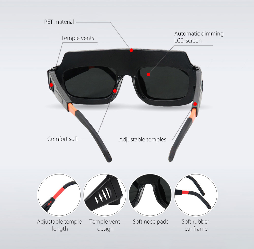 Anti-ultraviolet Light Automatic Dimming Solar Energy Anti-glare Argon Arc Electric Welding Glasses - Black Structure