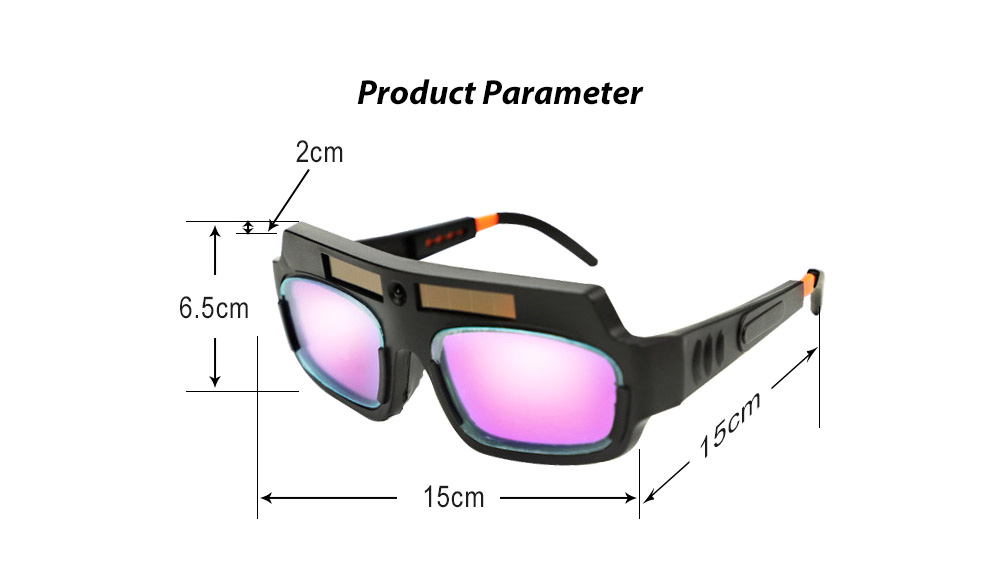 Anti-ultraviolet Light Automatic Dimming Solar Energy Anti-glare Argon Arc Electric Welding Glasses - Black Product Parameter