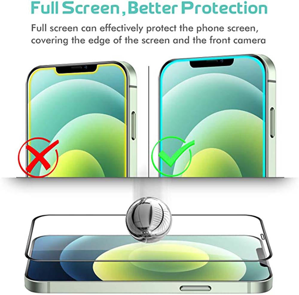 ASLING Screen Protector for iPhone 12 Mini / 12 / 12 Pro / 12 Pro Max 2PCS - Black for iPhone 12 Pro Max 6.7 inch