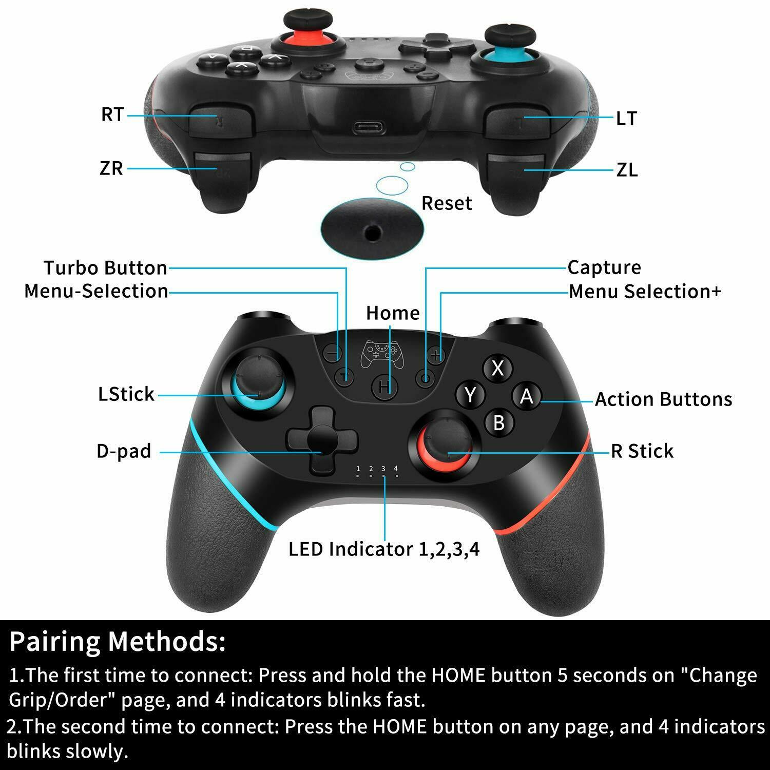 SW-B03 Games Controller Wireless Bluetooth Double Motor Vibration Sensor Two Color Handle for Switch - Goldenrod