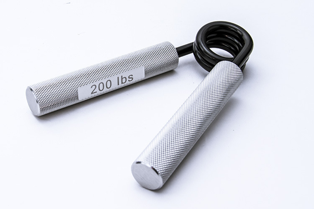 Metal Spring Steel Hand Grip Aluminum Alloy A-Type Fitness Grip - Silver 300 pounds