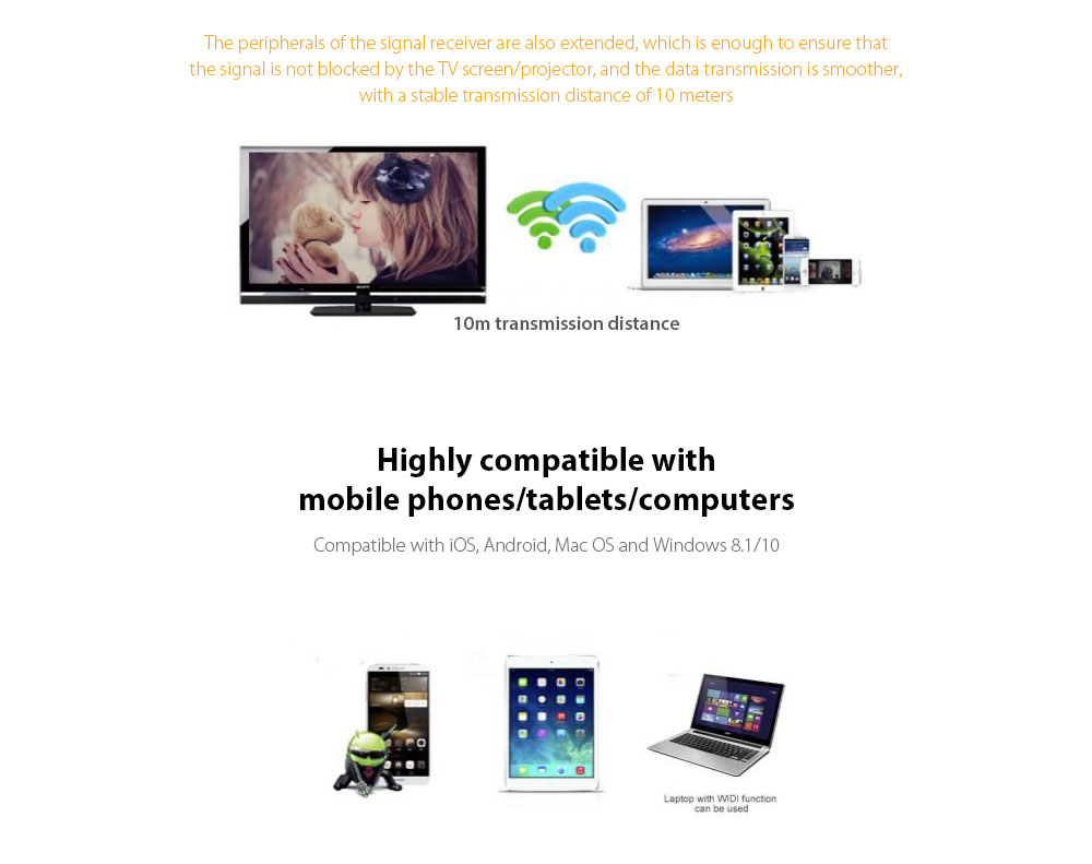 T8 RK3036 Wireless Same Screen Device Highly compatible with mobile phones/tablets/computers