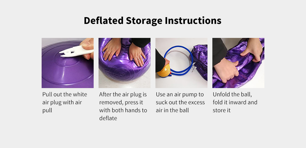 Anti-burst Yoga Ball Thickened Stability Balance Ball Pilates Physical Fitness Exercise Ball 55CM / 65CM / 75CM with Air Pump - Hot Pink 55cm Deflated Storage Instructions