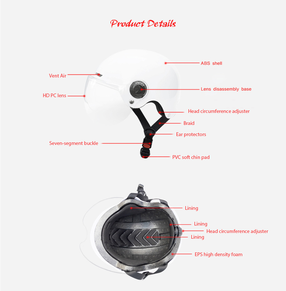 Motorcycle Electric Bicycle Helmet Impact Engineering Plastic Safety Bike Helmet - Black Product Details