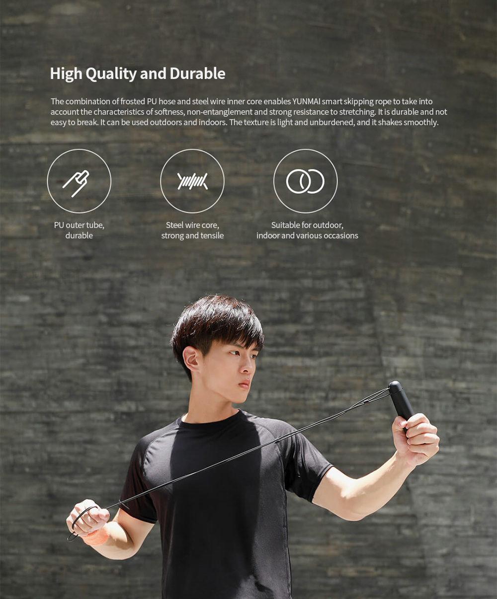 Smart Training Skipping Rope from Youpin - Black High Quality and Durable