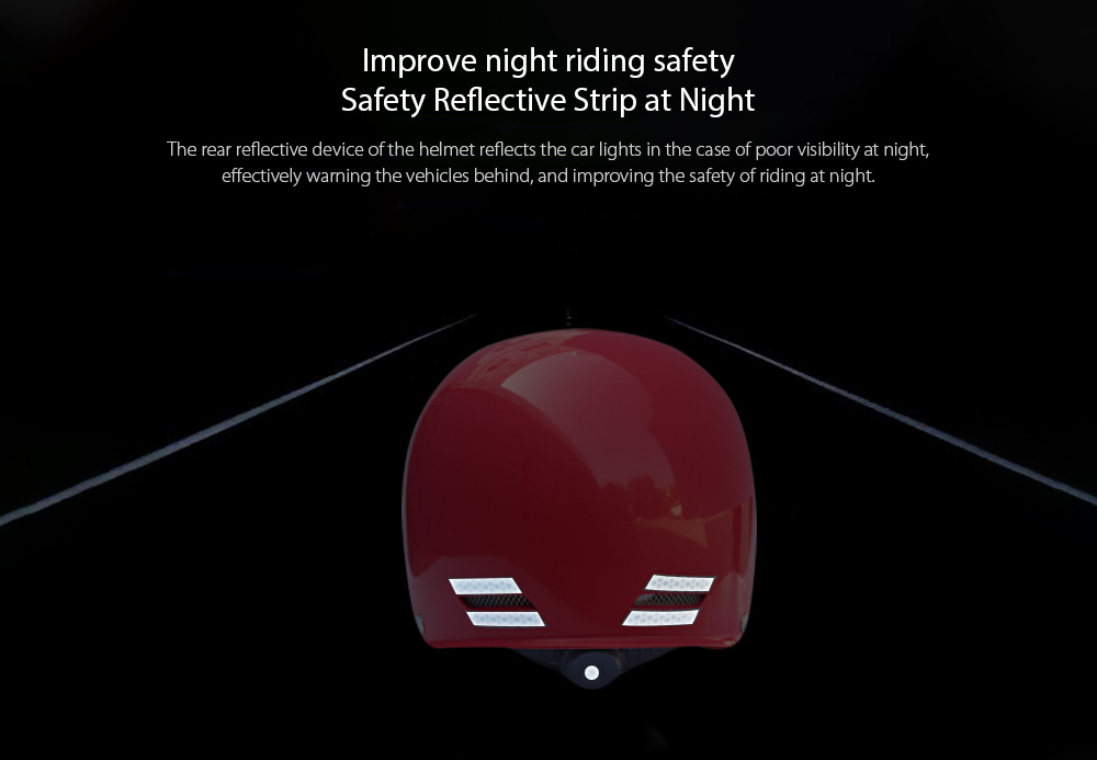 Motorcycle Electric Bicycle Helmet Impact Engineering Plastic Safety Bike Helmet - Black Safety Reflective Strip at Night
