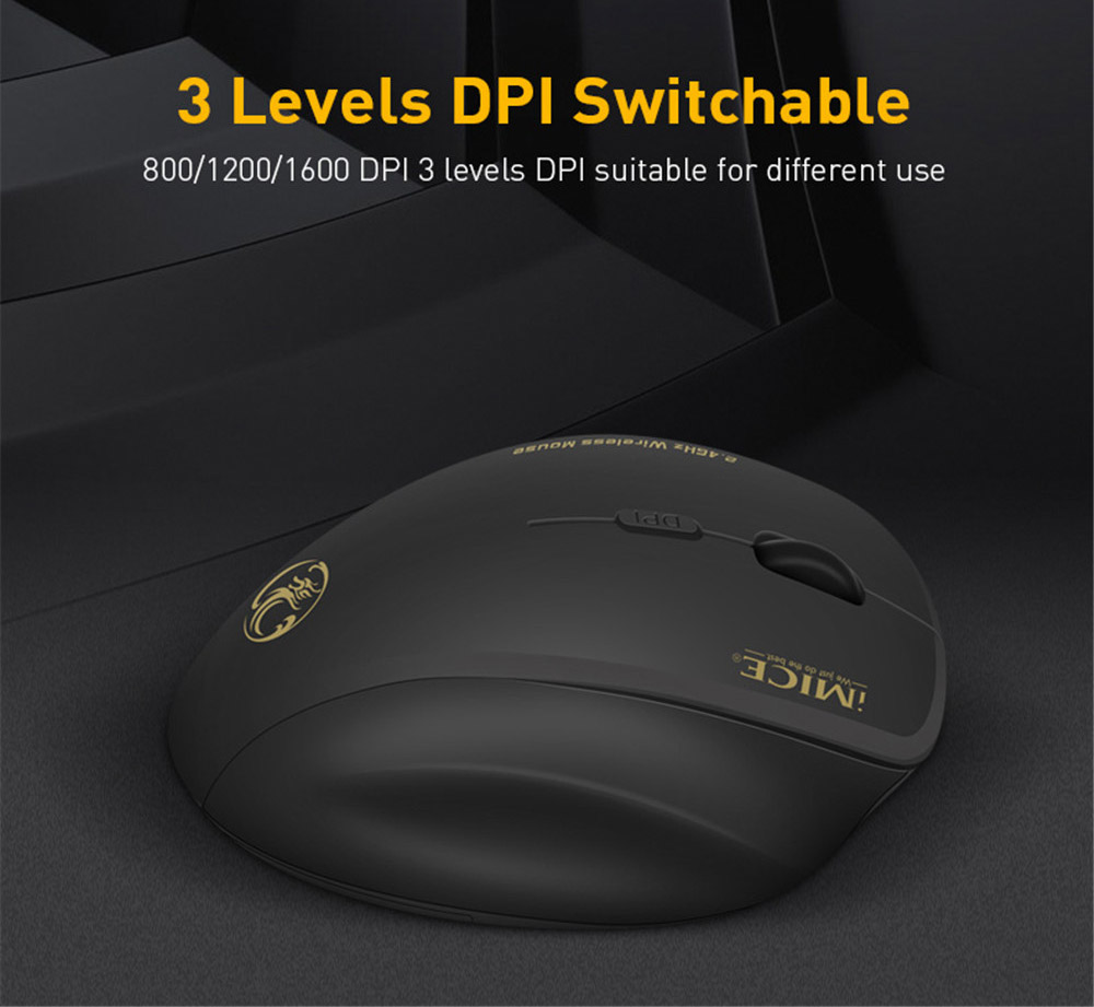 G6 Wireless Mouse Ergonomic Computer Mouse PC Optical Mause with USB Receiver 6 Buttons 2.4GHz Wireless Mice 1600 DPI for Laptop - Black