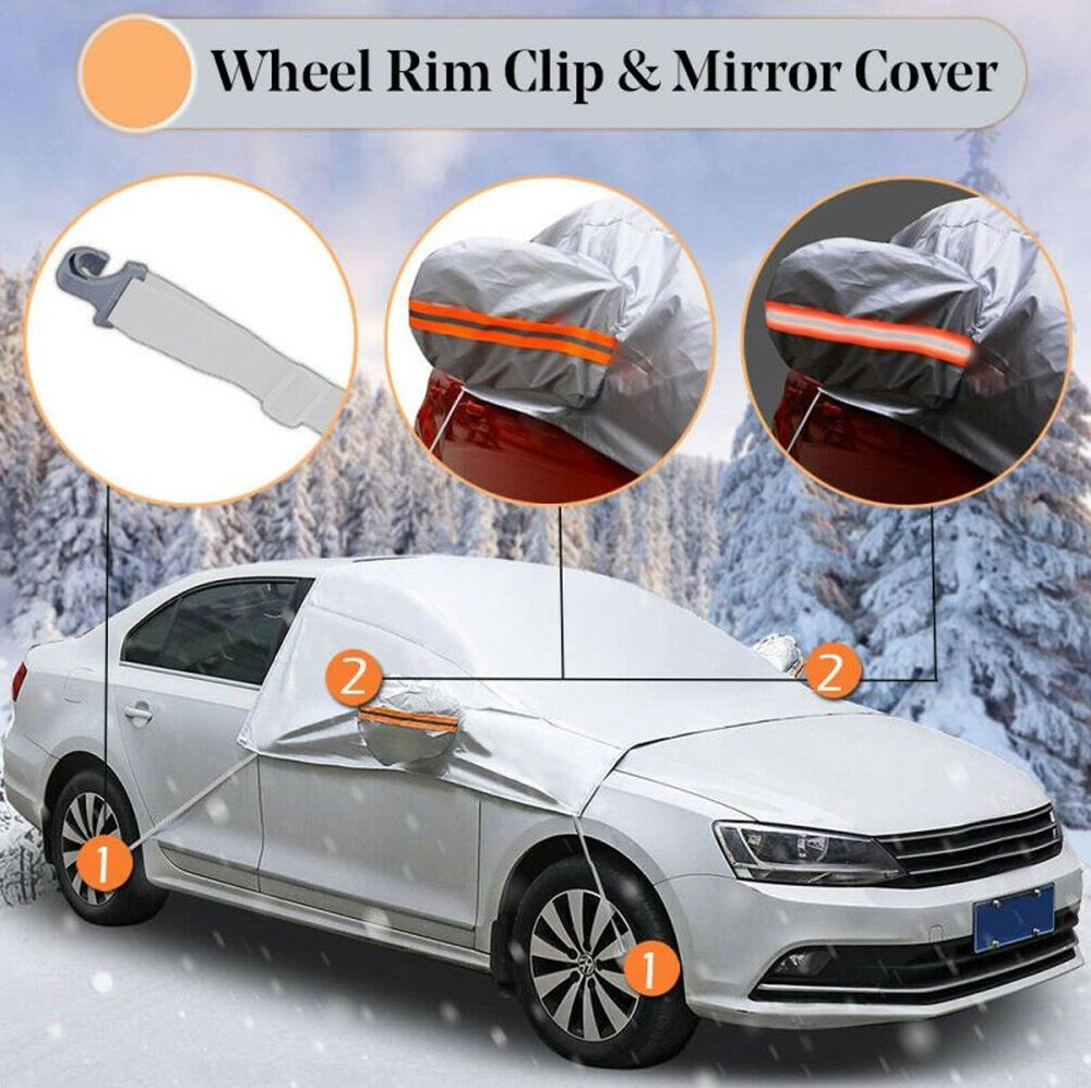 Gocomma Protective Cover Car Front Gear Glass Protective Set Winter Antifreeze Anti-frost Half Cover - Black