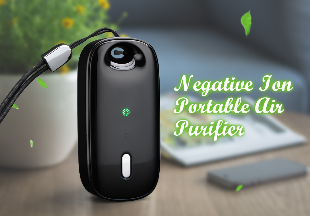 Neck Air Purifier Negative Ion Children Adult Wearable Personal Mini Air Purifier for Smoke Removal - Black Negative Ion Portable Air Purifier