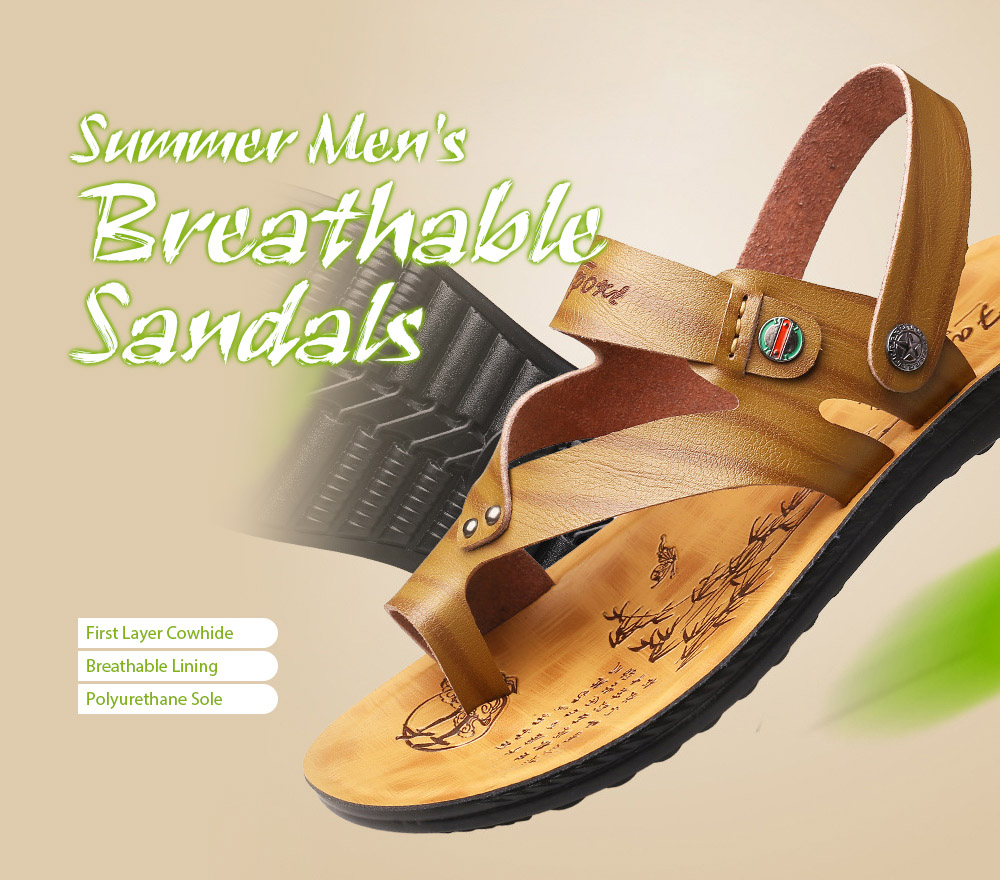 3318 Casual Microfiber Men's Sandals Two Wears - Brown 39 Summer Men's Breathable Sandals