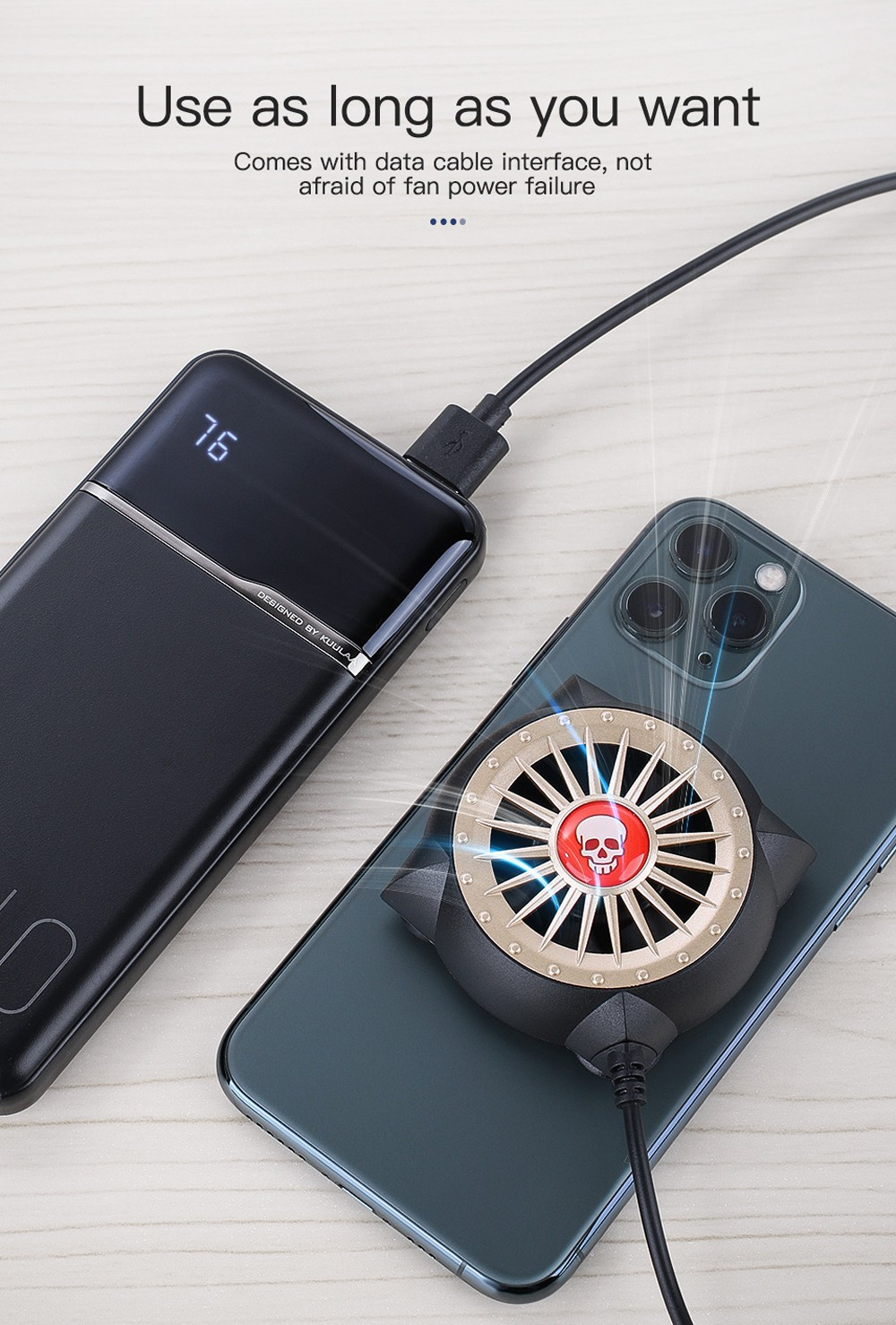 KUULAA Phone Cooling Fan - Black