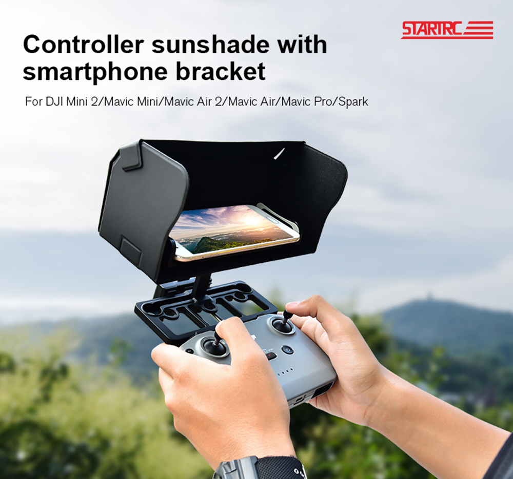 STARTRC RC Quadcopter Fit Remote Control Folding Magnetic Suction Sunshade Cover Mobile Phone Bracket Set for DJI Mini 2 Series - Black