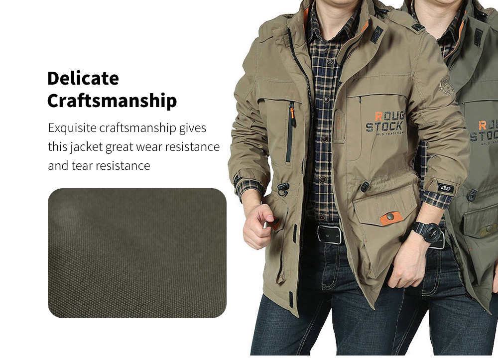 Outdoor Sports Tactical Jacket Mid-length Men's Casual Jacket Details