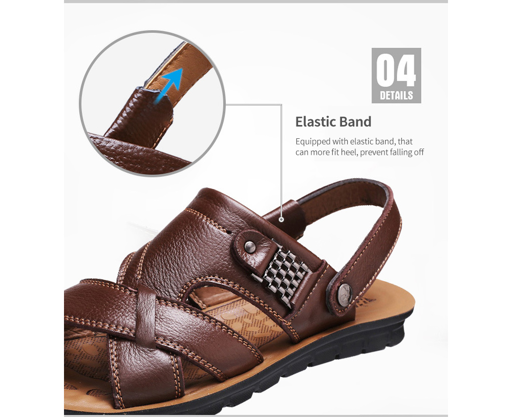 Men's Sandals Large Size Leather Beach Shoes Sandal Slippers Band