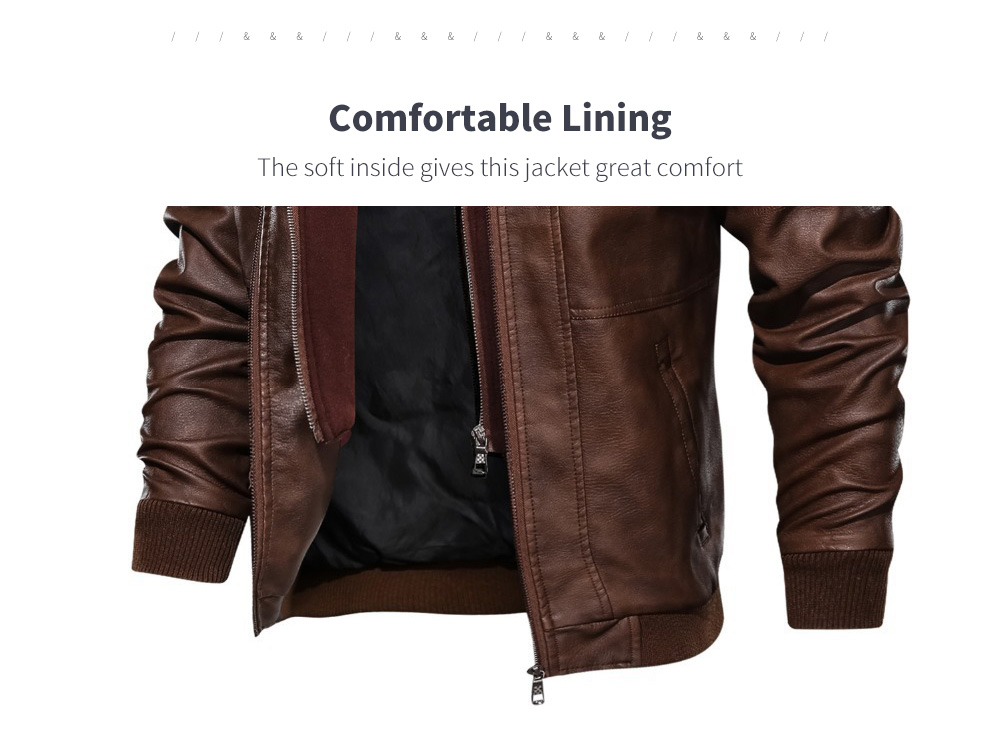 Spring And Autumn Winter Leather Men's Hood Leather Coat
