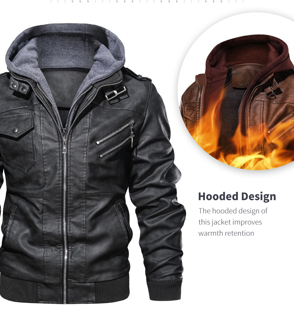 Spring And Autumn Winter Leather Men's Hood Leather Coat Lining