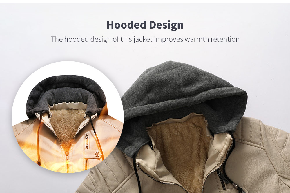 Autumn And Winter Leather Men's Leather Jacket Hoodie