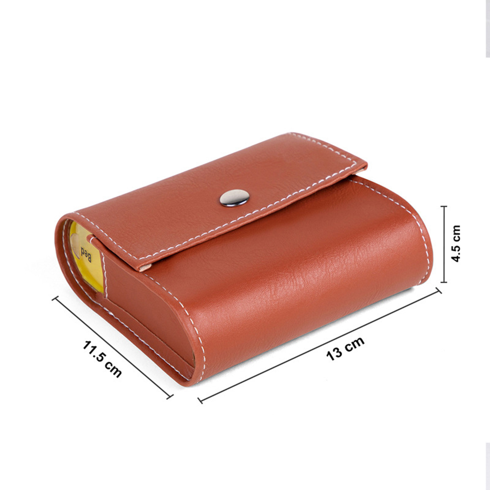P-010 Brown Notebook Pill Box Portable Leather Bag 28-Grid Wallet Pill Box - Brown