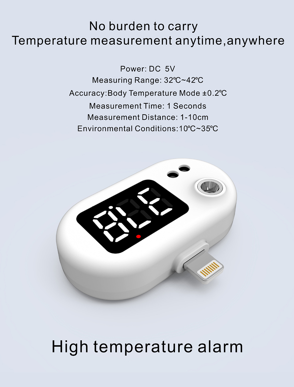 K7 Intelligent Thermometer Automatic Infrared Mobile Phone Non-contact Human Body Thermometer - Black android High temperature alarm