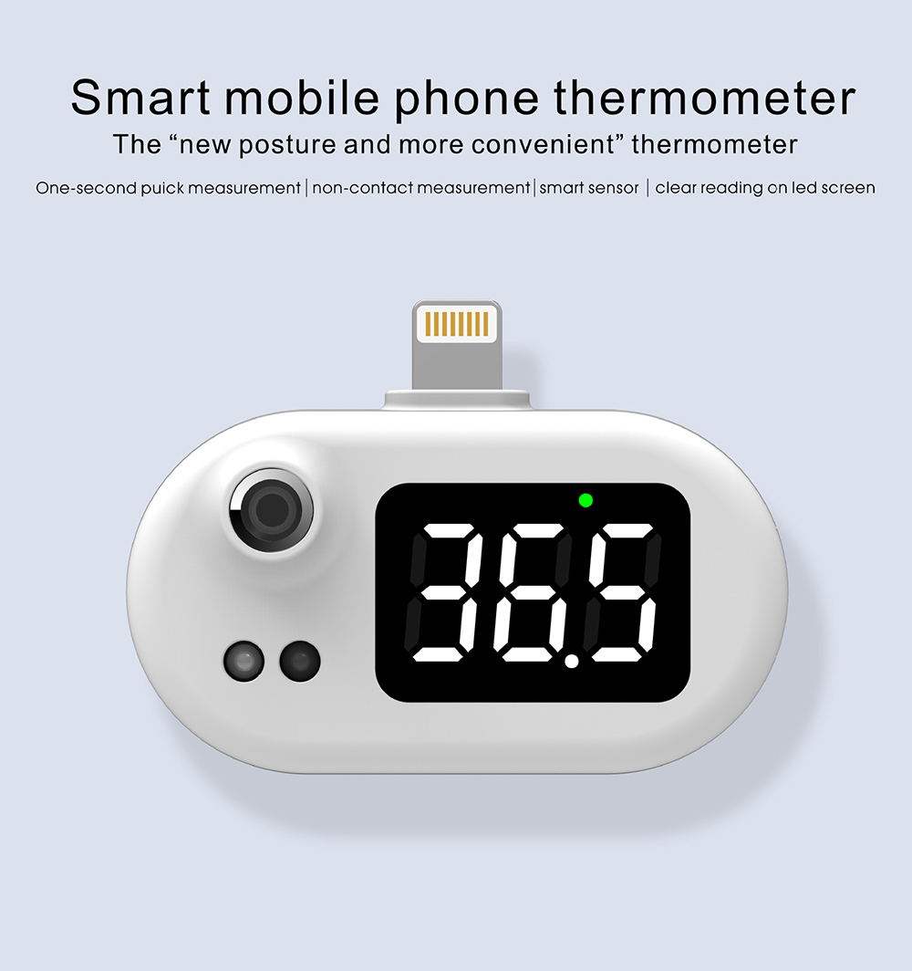 K7 Intelligent Thermometer Automatic Infrared Mobile Phone Non-contact Human Body Thermometer - Black android Smart Mobile Phone Thermometer