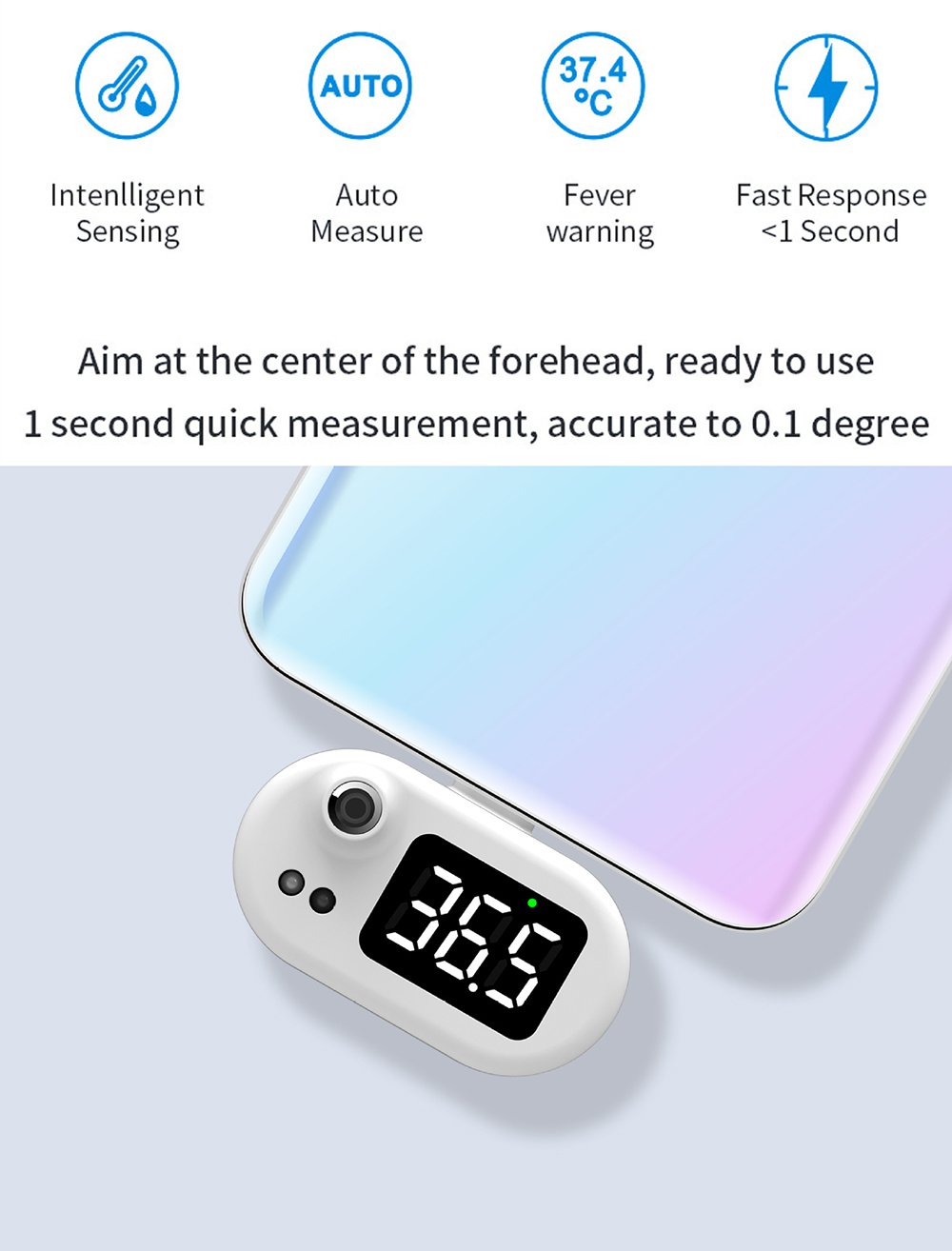 K7 Intelligent Thermometer Automatic Infrared Mobile Phone Non-contact Human Body Thermometer - Black android Features