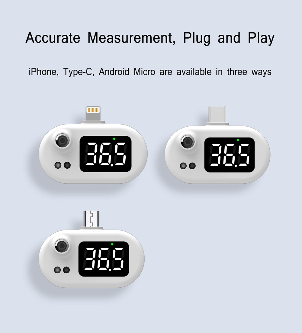 K7 Intelligent Thermometer Automatic Infrared Mobile Phone Non-contact Human Body Thermometer - Black android Accurate Measurement, Plug and Play