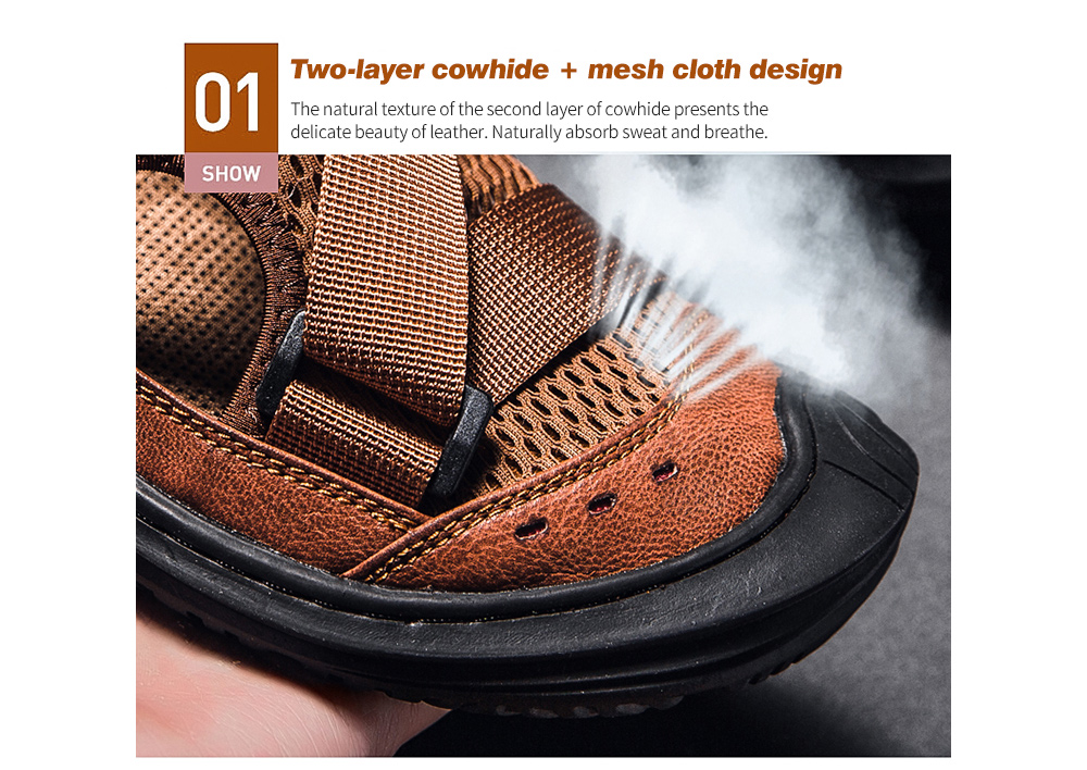 IZZUMI Summer Breathable Men Sandal Two-layer cowhide + mesh cloth design