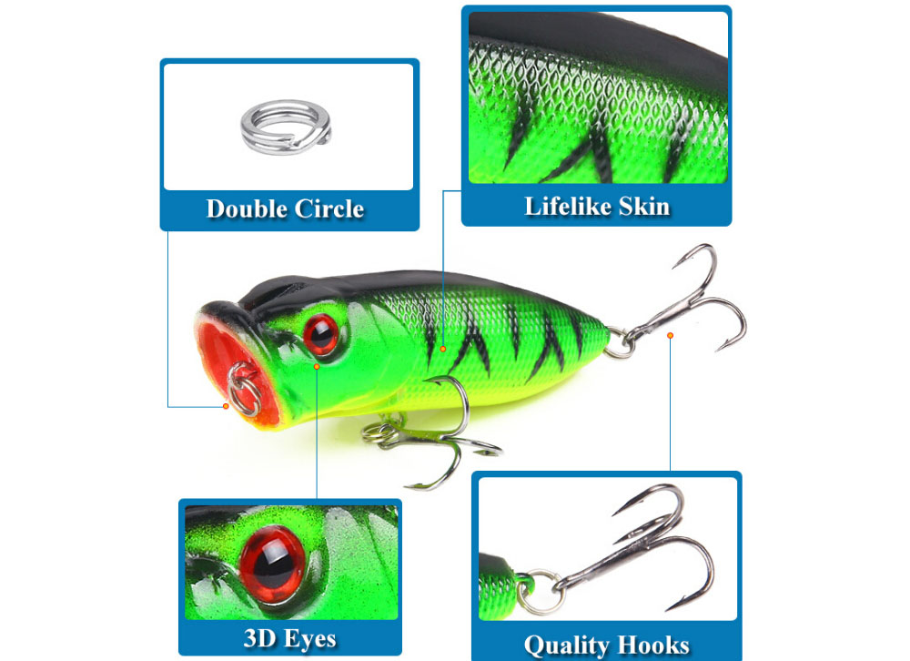 Fishing Lures 6.5cm / 12g Topwater Popper Bait 5 Colors Hard Bait Artificial Wobblers Plastic Fishing Tackle - Green