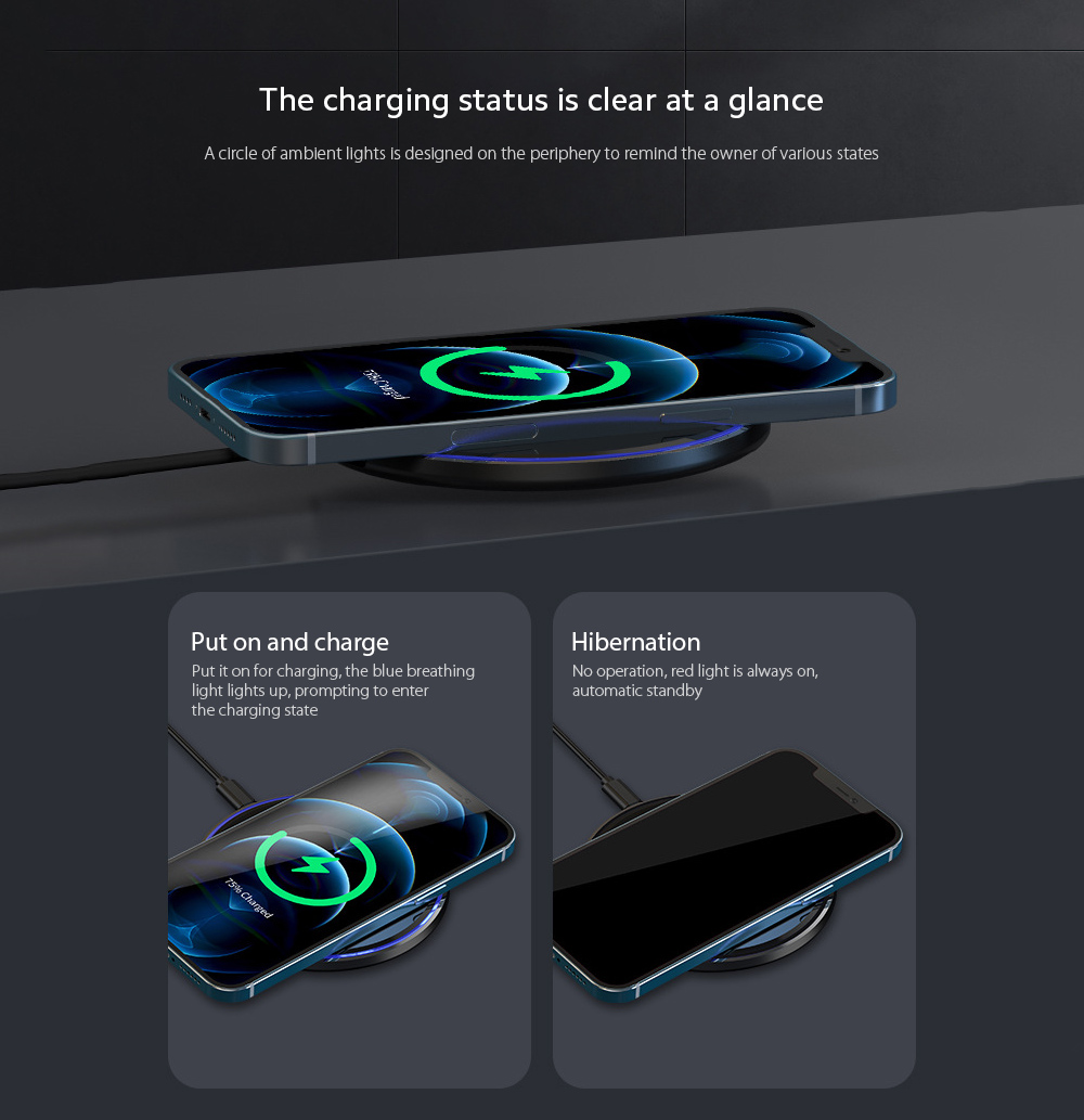 KUULAA KL-CD03 Ultra Thin QI 10W Wireless Charger The charging status is clear at a glance