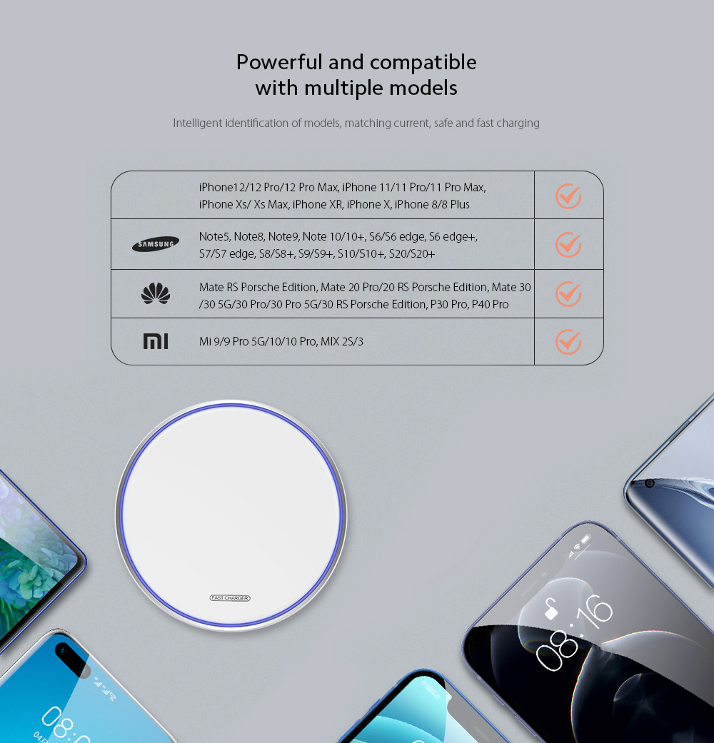 KUULAA KL-CD03 Ultra Thin QI 10W Wireless Charger Powerful and compatible with multiple models